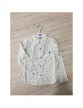 Camisa fondo blanco y estampado verde