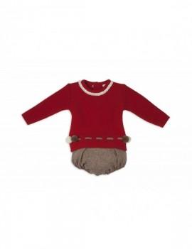 Conjunto bebé cubre marón y jersey pimentón