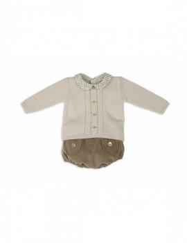 Conjunto bebé mixto de cubre color bambú y jersey beige
