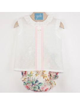 onjunto bebé cubre estampado con blusa plumeti blanca