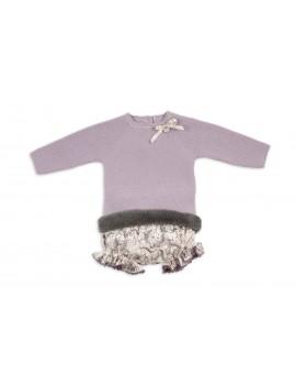 Conjunto cubre estampado y jersey lila