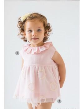 Vestido bebé con tul bordado rosa